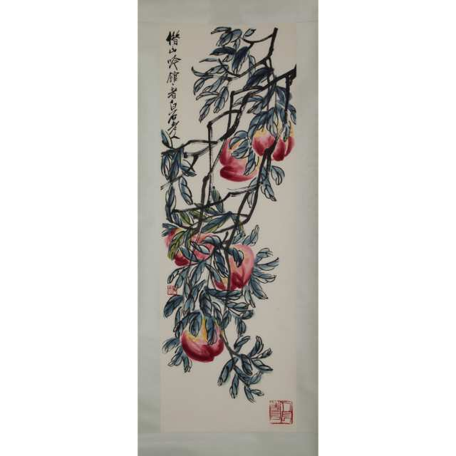 Two Qi Baishi Woodblock Print Scrolls