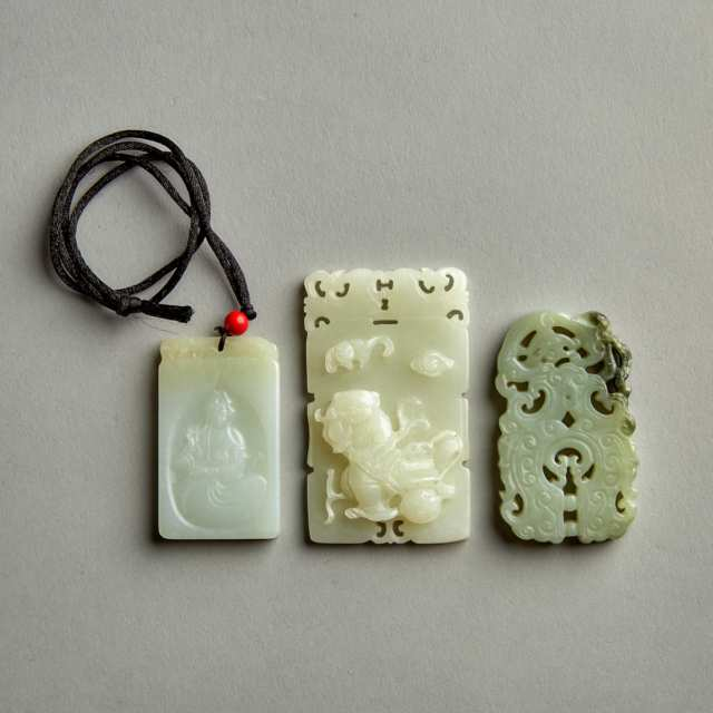 A Group of Three Jade Plaques