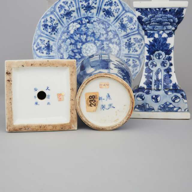 A Group of Four Export Blue and White Porcelain, Kangxi Period and Later