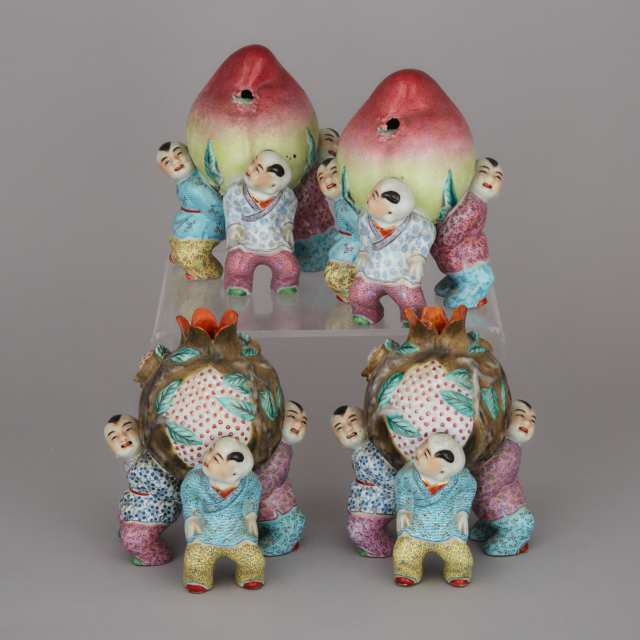 A Set of Four Famille Rose Porcelain 'Boys' Groups, Early 20th Century