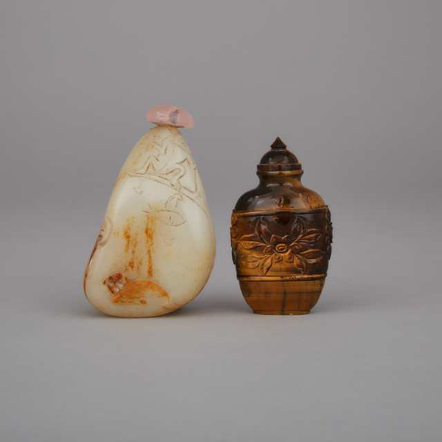 Two Hardstone Carved Snuff Bottles