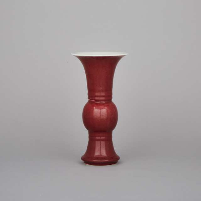 A Red Glazed Gu Vase