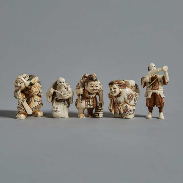 A Group of Five Ivory Carved Netsuke, Circa 1940