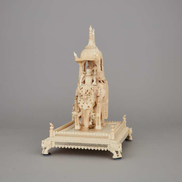 An Indian Ivory Carving of a Mughal Emperor Riding an Elephant, Early 20th Century