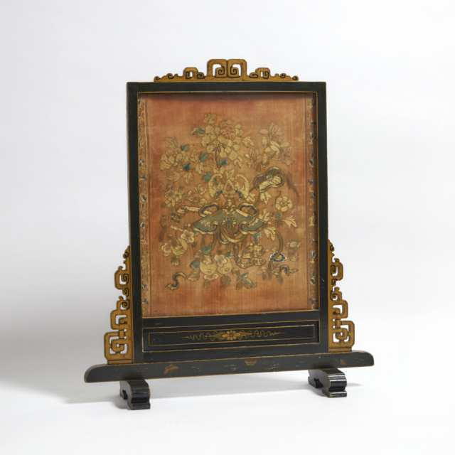 A Chinese Silk Embroidered Tapestry Mounted as a Fire Screen, 19th Century