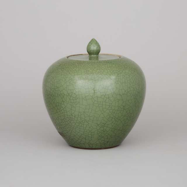 A Green Crackled Glaze Lidded Jar