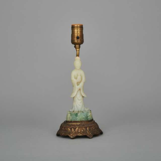 A Jade and Serpentine Carved Lamp