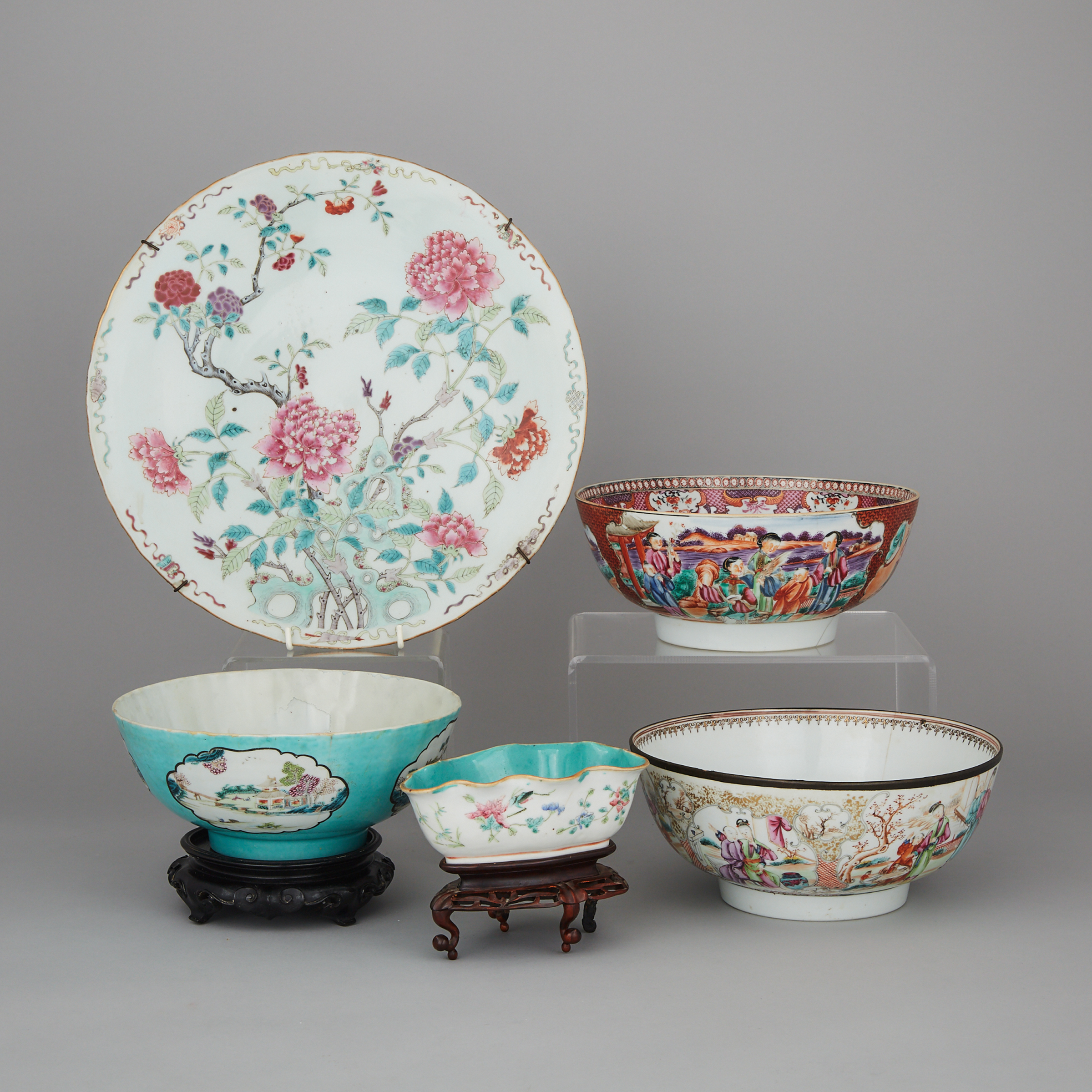 A Group of Five Famille Rose Export Wares, 18th  Century and Later