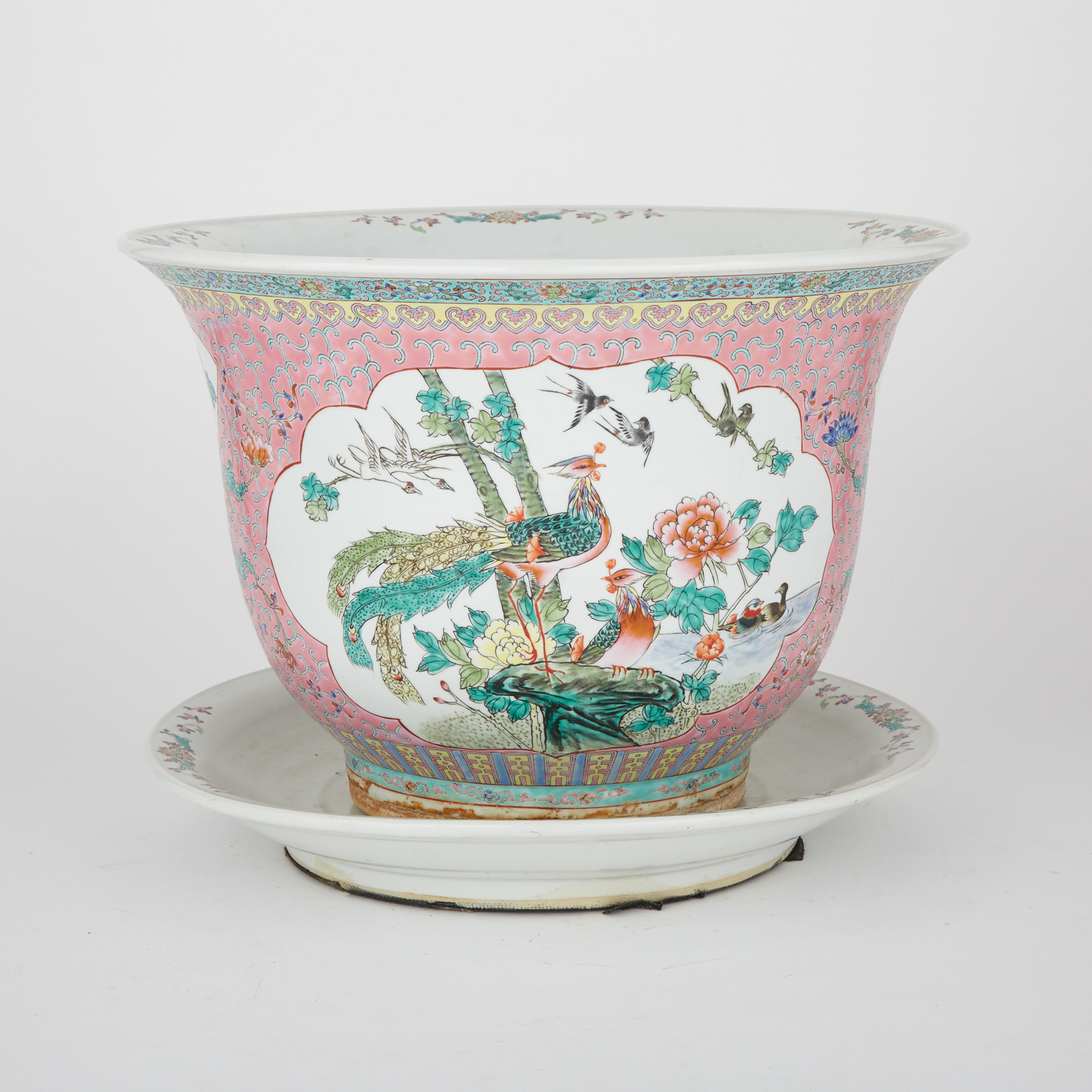 A Famille Rose Jardinière and Saucer, 20th Century