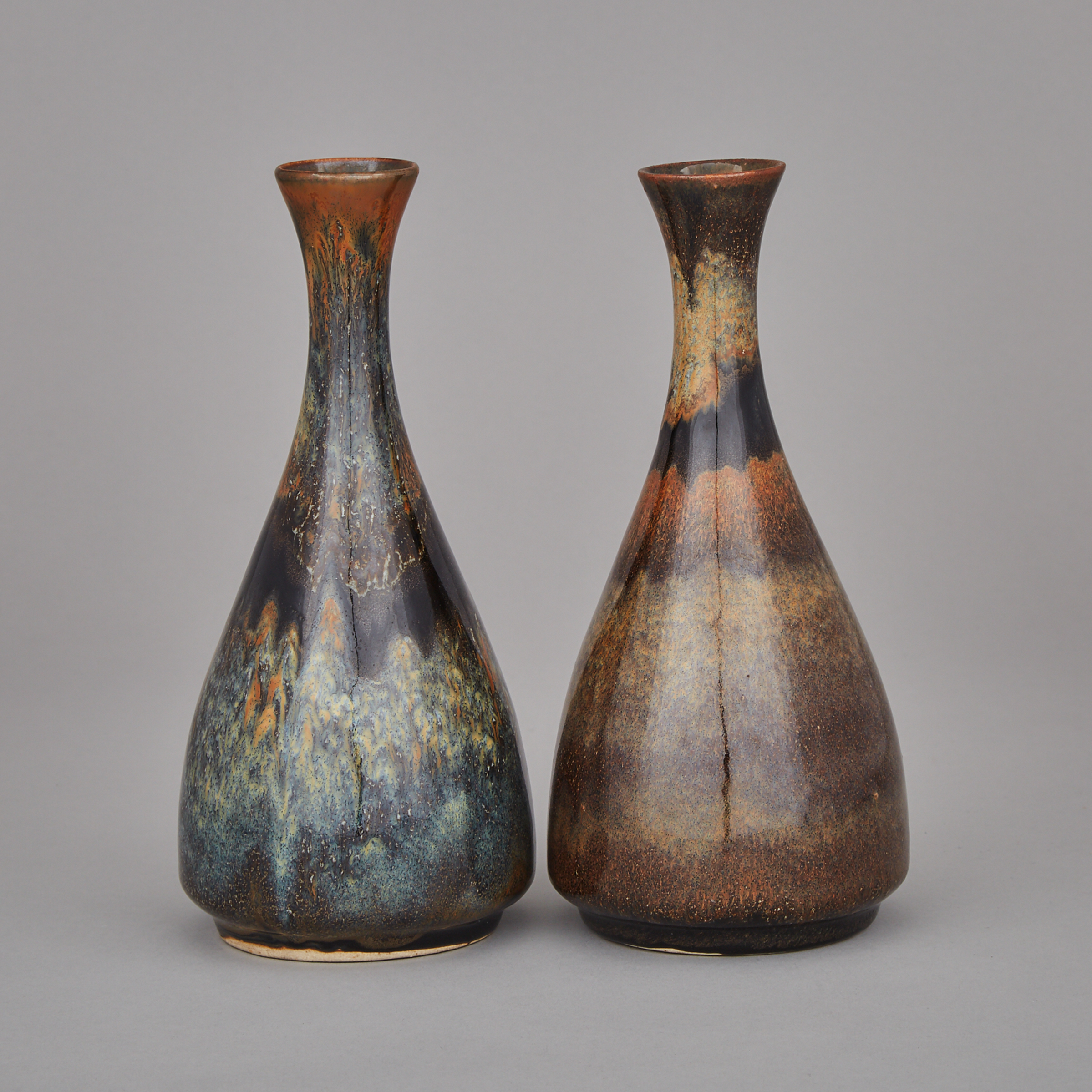 A Pair of Brown and Black Splashed Glaze Vases