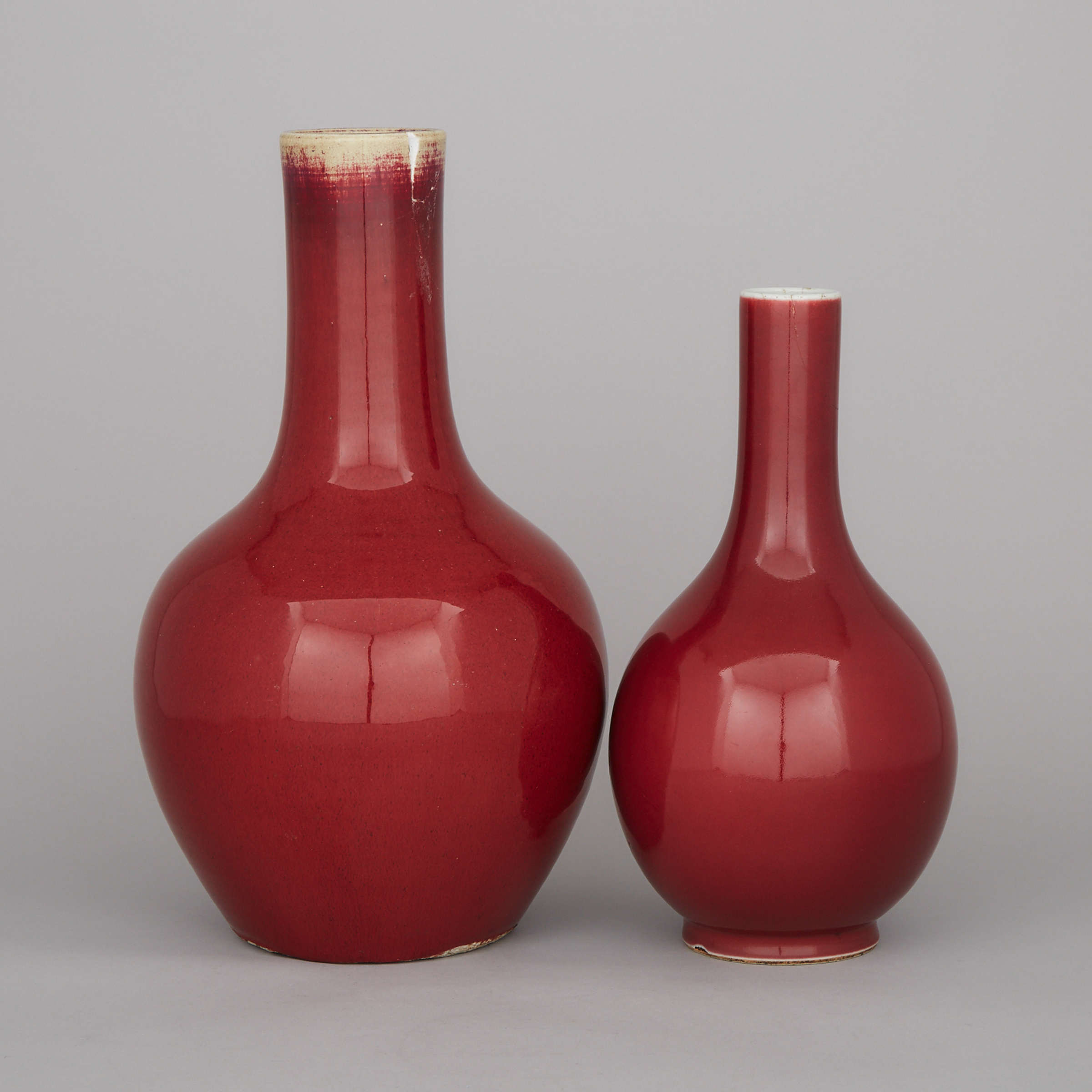 Two Red Glazed Vases