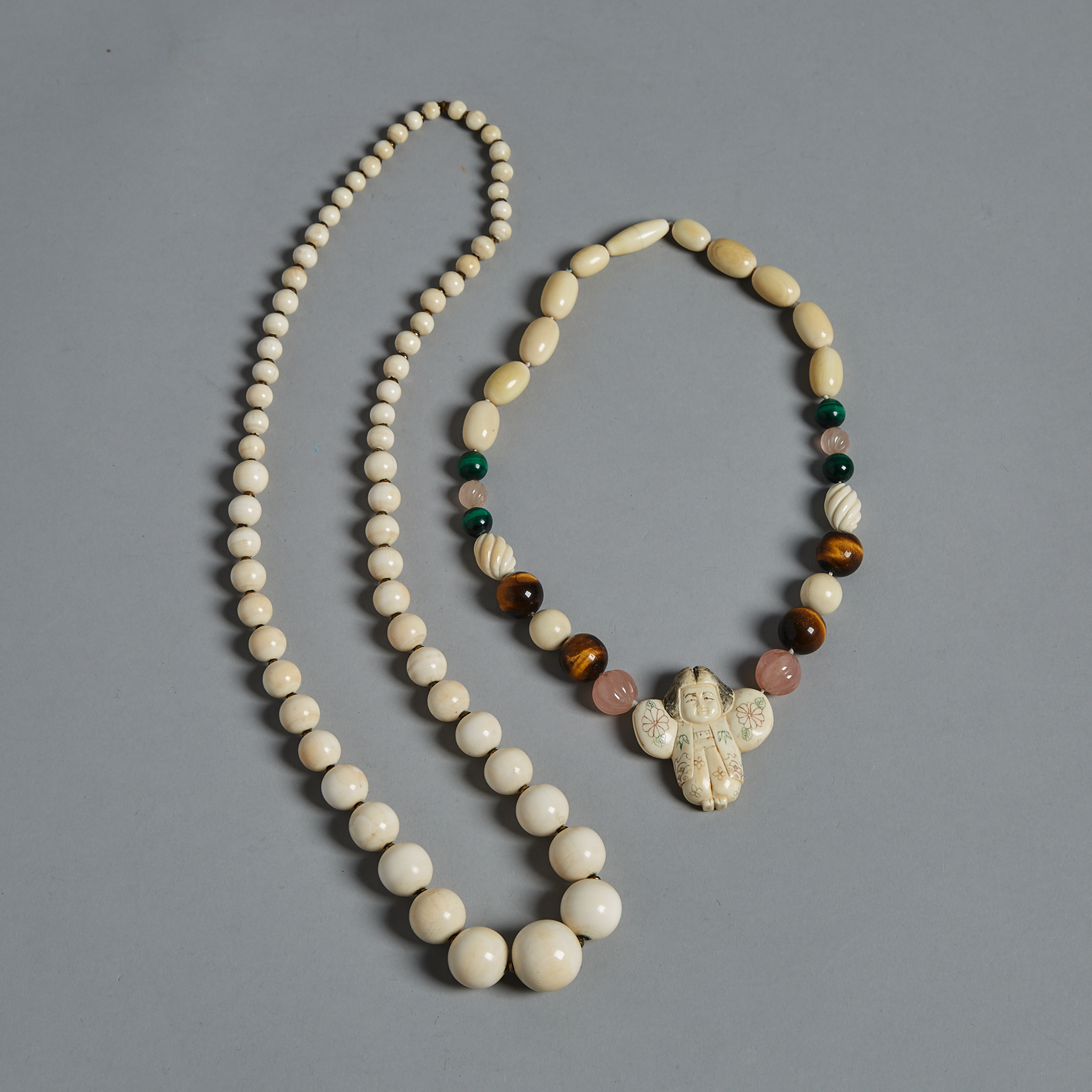 Two Ivory Beaded Necklaces, Circa 1940