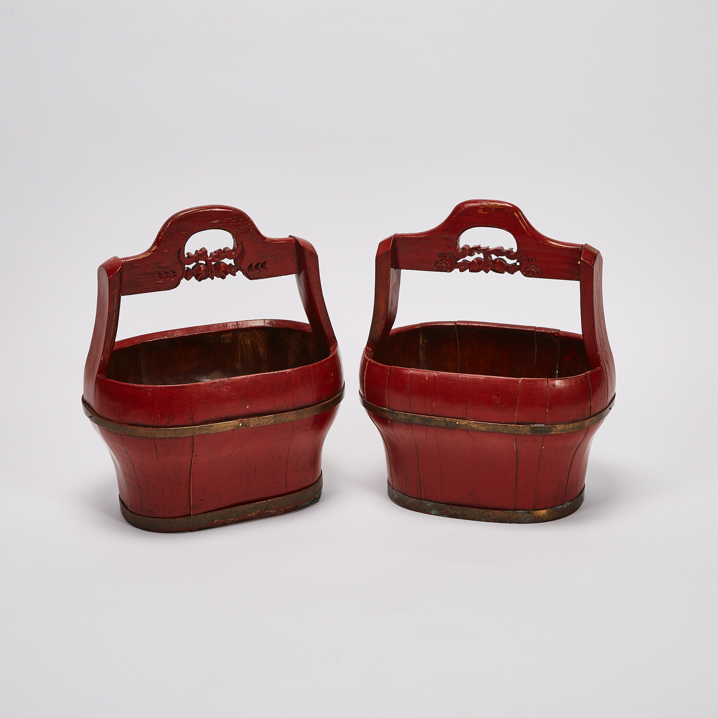 A Pair of Chinese Red Lacquer Baskets, 19th Century