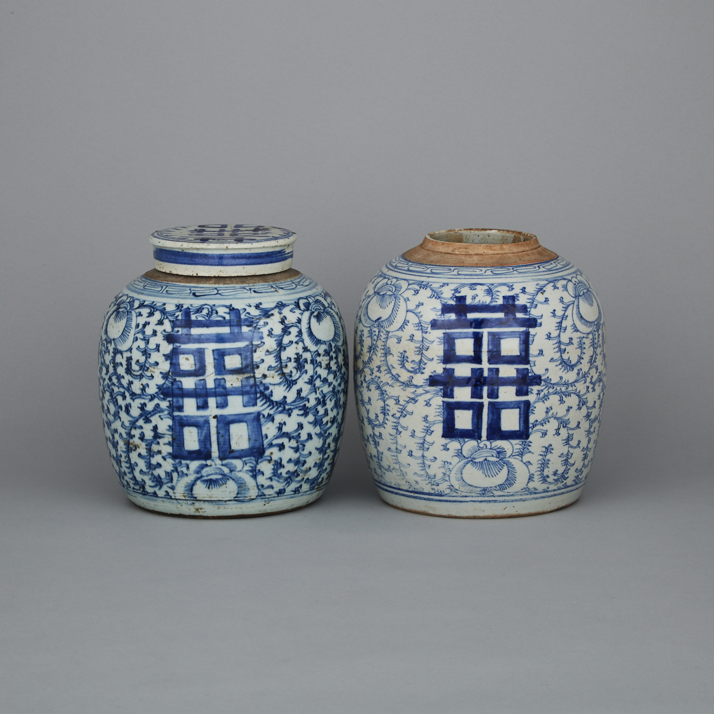 Two Blue and White 'Double Happiness' Ginger Jars, 19th Century