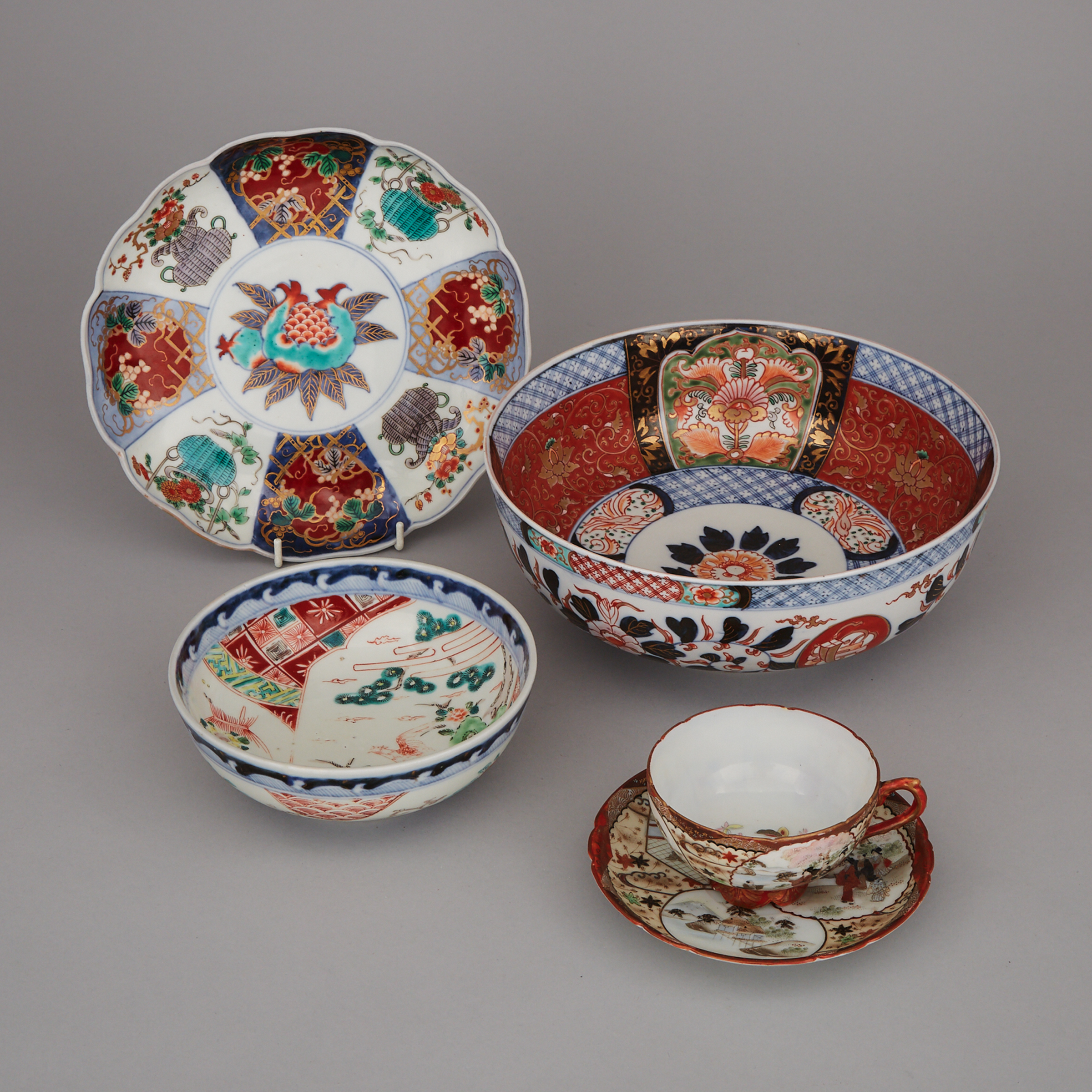 A Group of Five Japanese Porcelain Wares