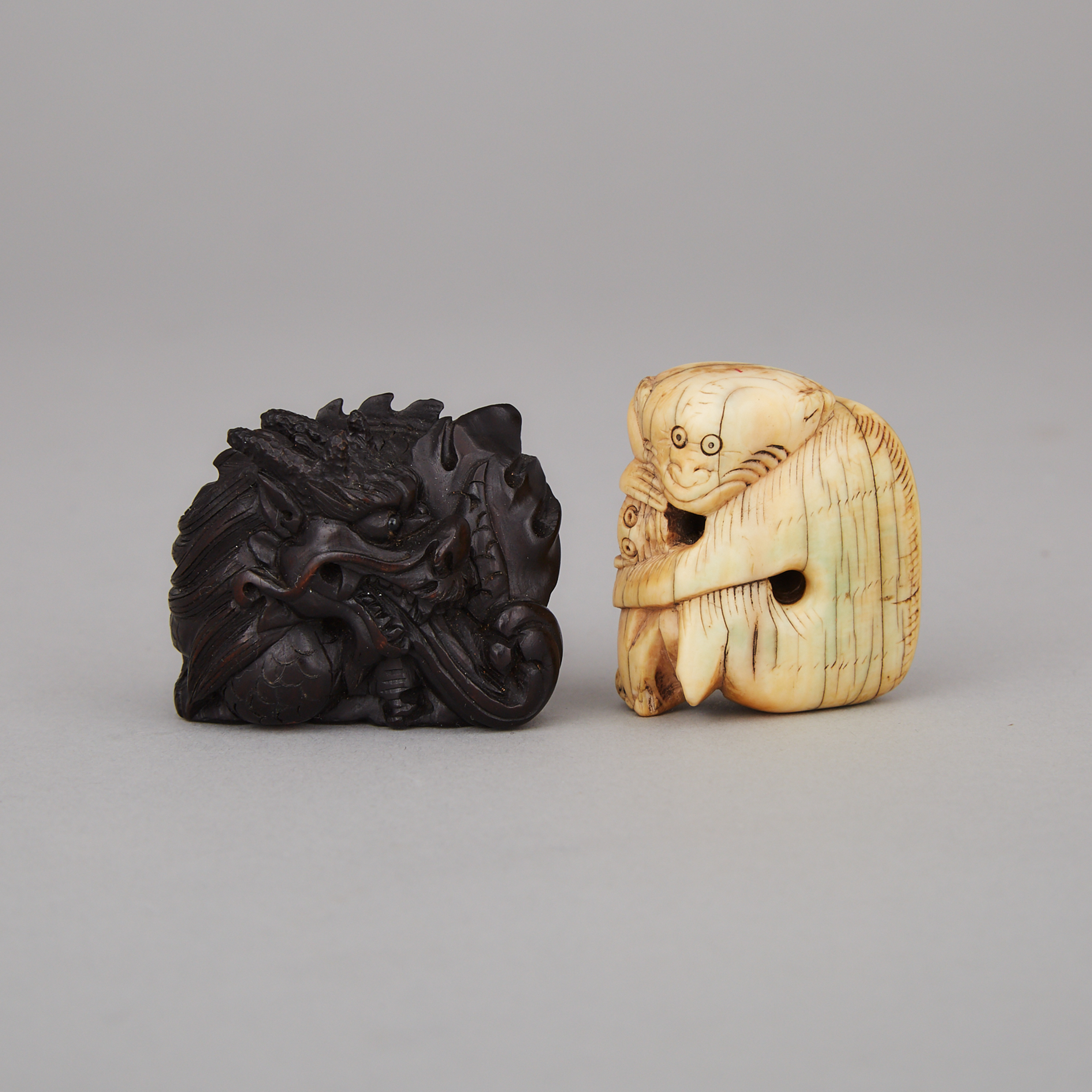 Two Chinese Carved Toggles
