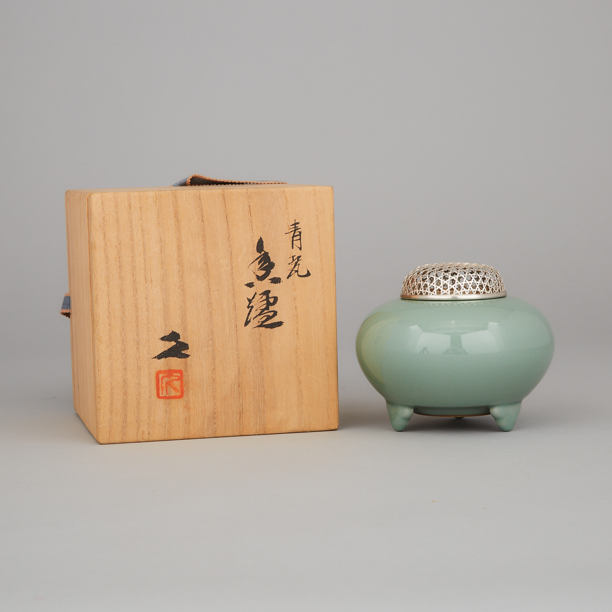 A Japanese Celadon Koro Incense Burner