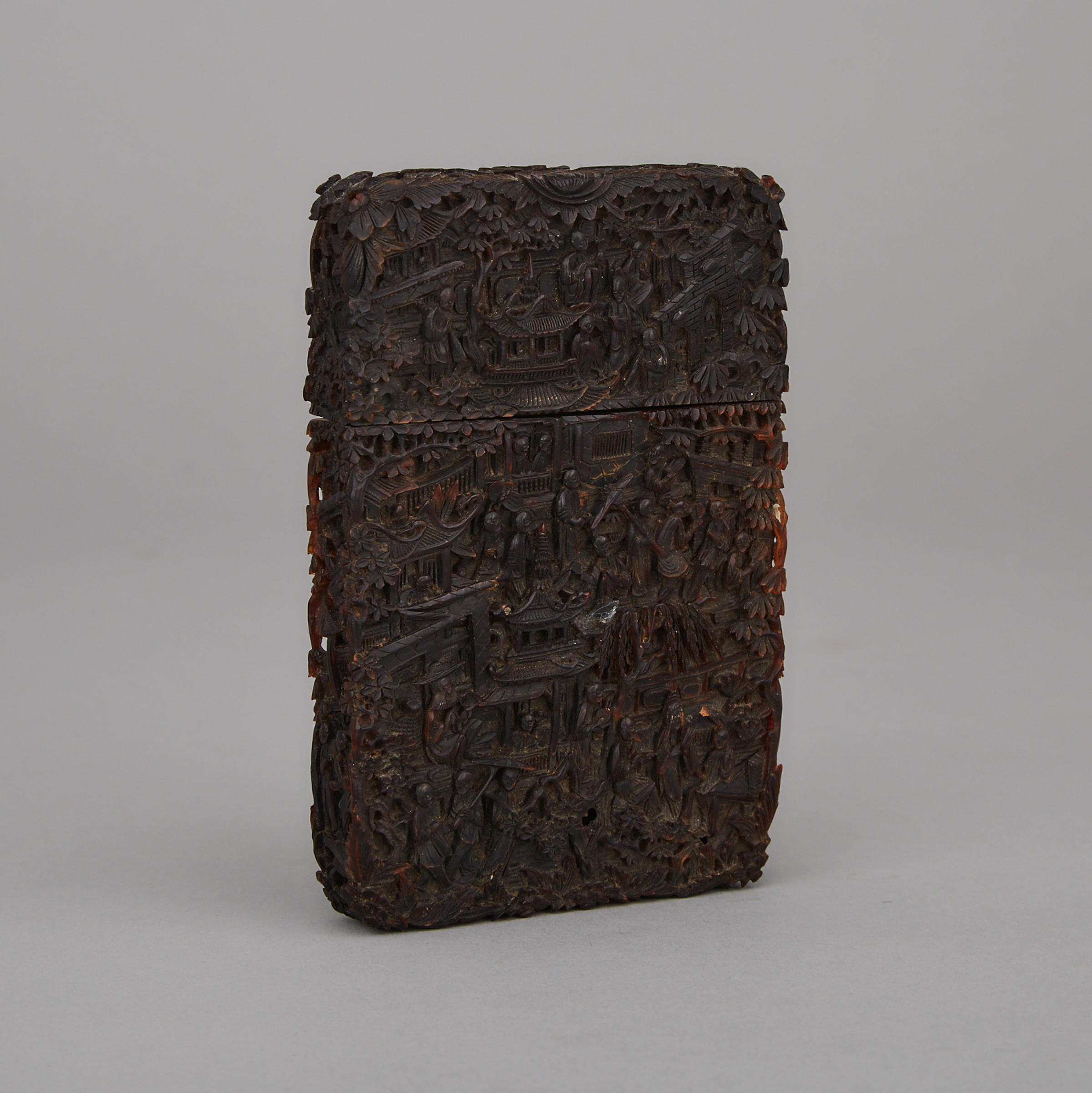 A Carved Tortoise Shell Card Carrying Case, Late 19th Century