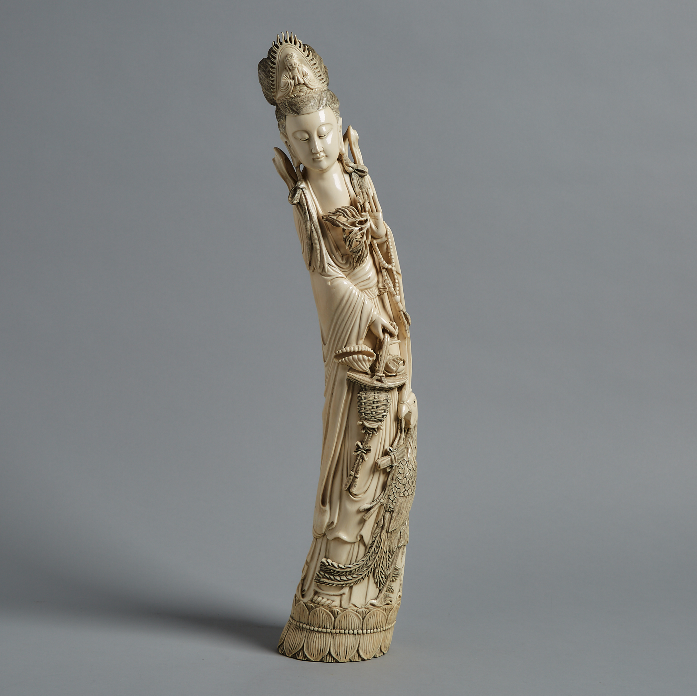 A Large Ivory Carved Guanyin, Circa 1940