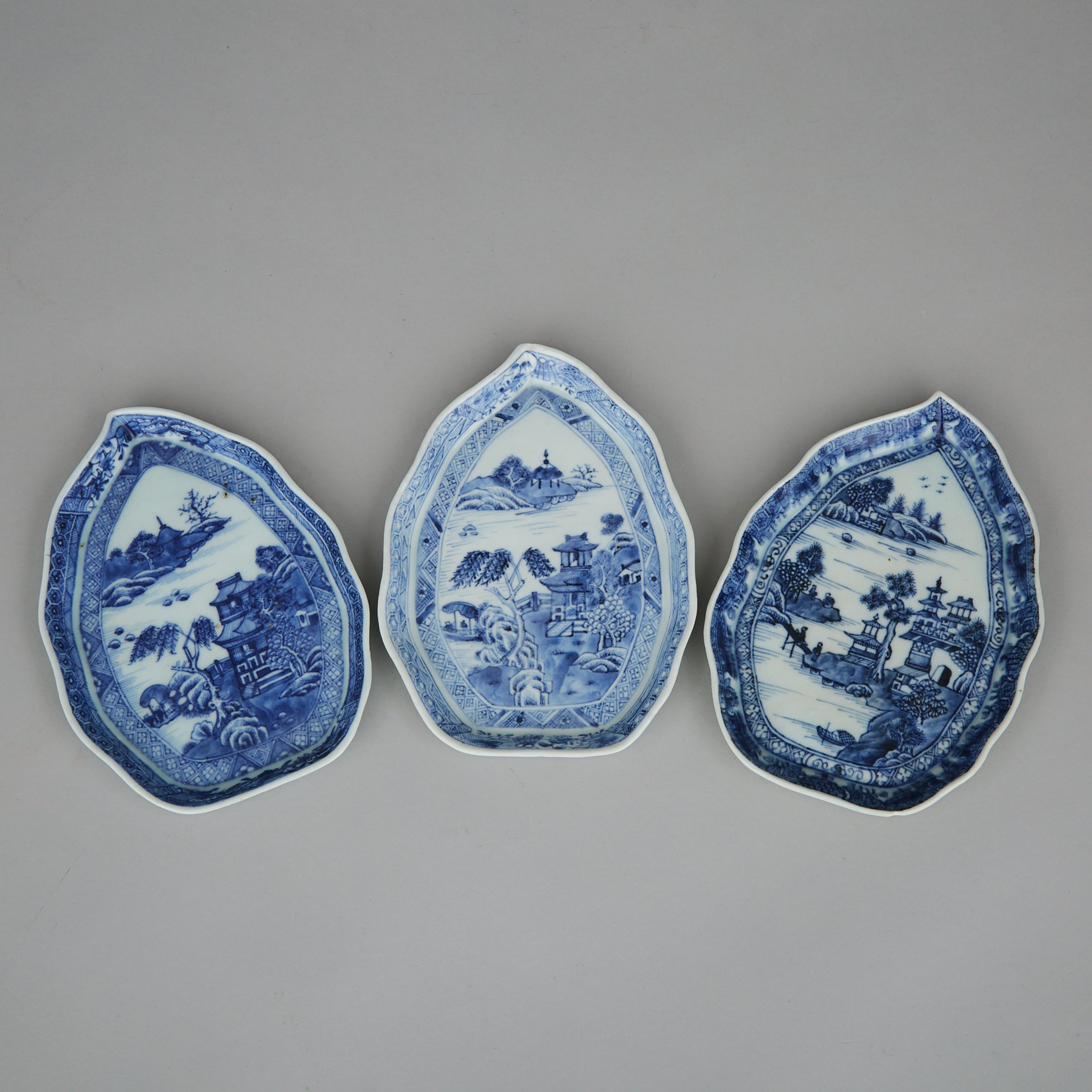 A Group of Three Chinese Blue and White Export Dishes, 19th Century
