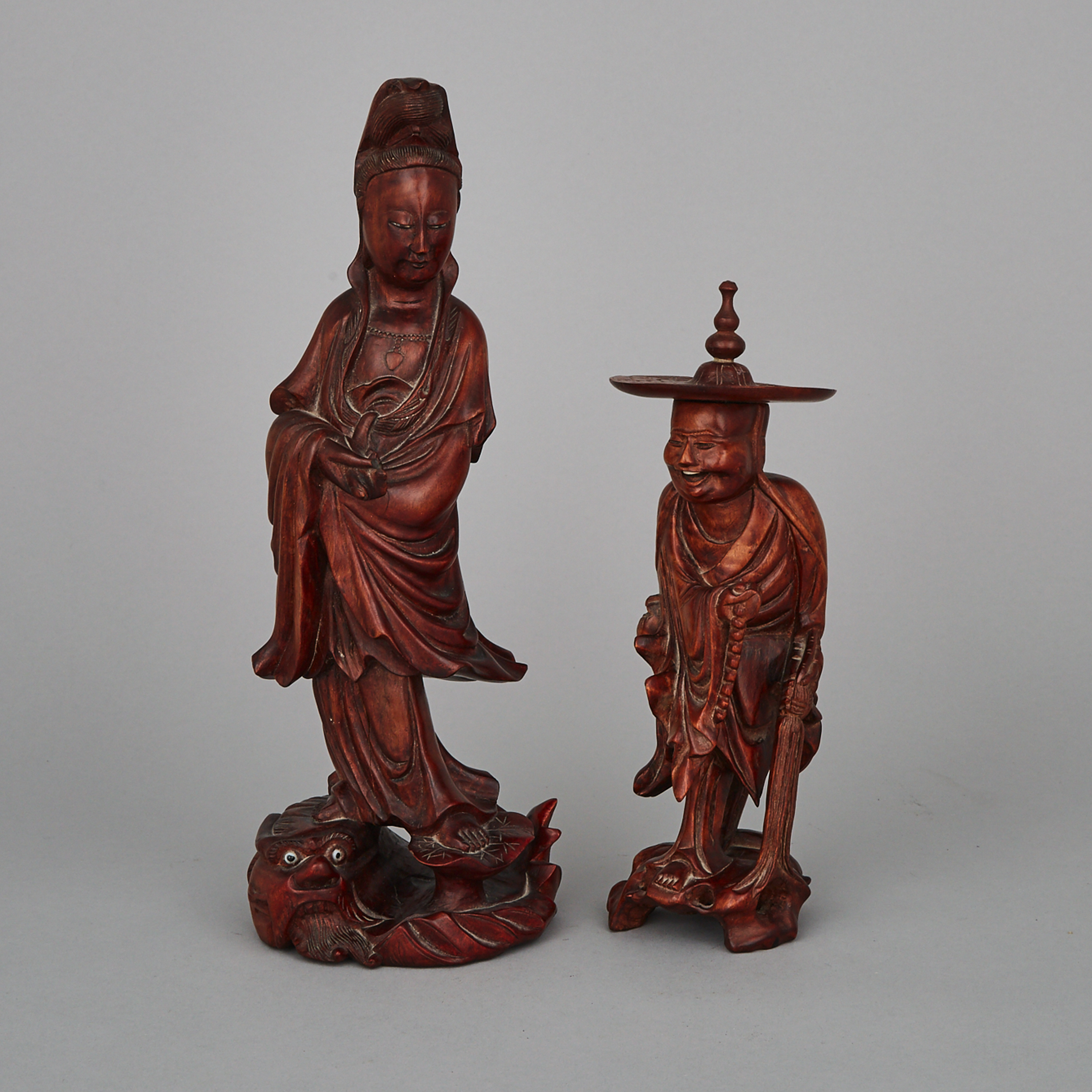 Two Chinese Wood Carved Figures
