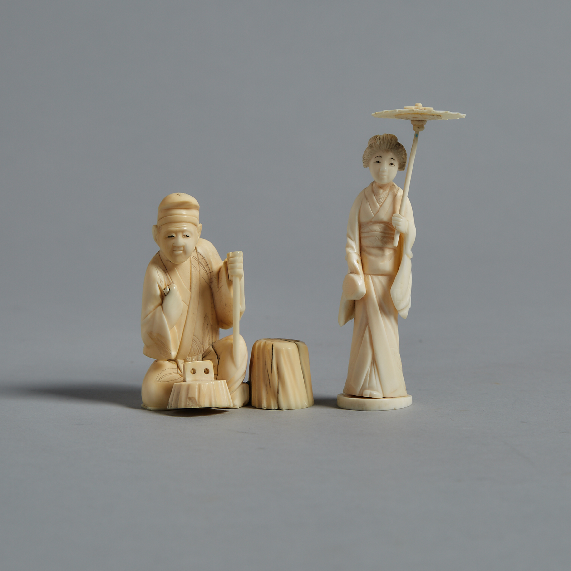 Two Ivory Carved Okimono