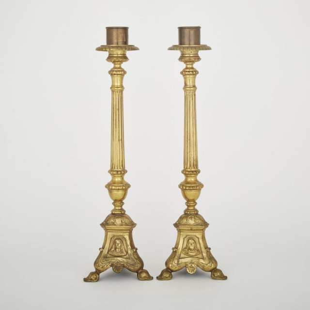Pair of Gilt Bronze Altar Candlesticks, 19th century