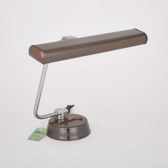 Lacquered Metal and Satin Chrome Desk Lamp, Faries Manufacturing Co. Decatur, Illinois, mid 20th century