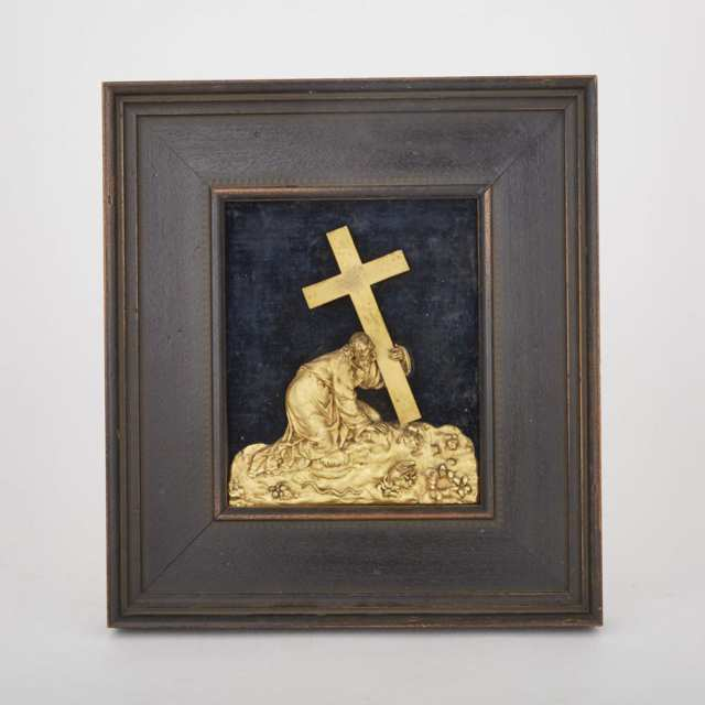 French Gilt Bronze Silhouette High Relief Panel of Christ Carrying the Cross, 19th century