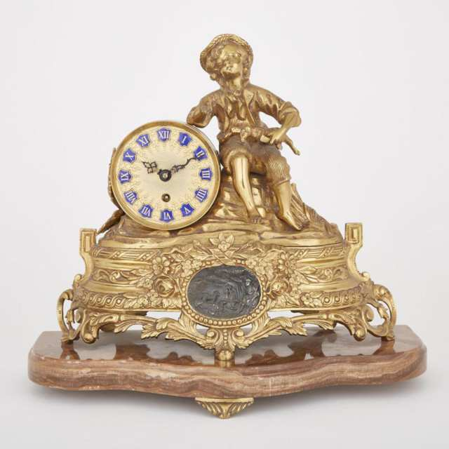 French Style Gilt Brass Figural Mantel Clock, mid 20th century