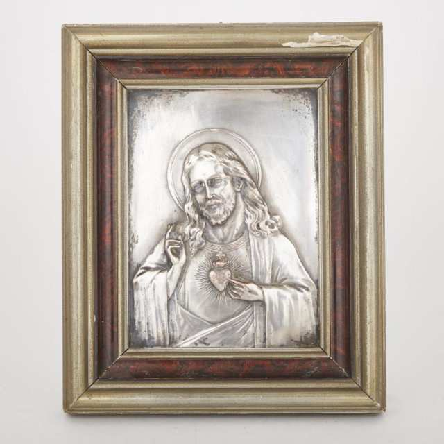 Silvered Copper Relief Panel of the Sacred Heart of Jesus, 19th century