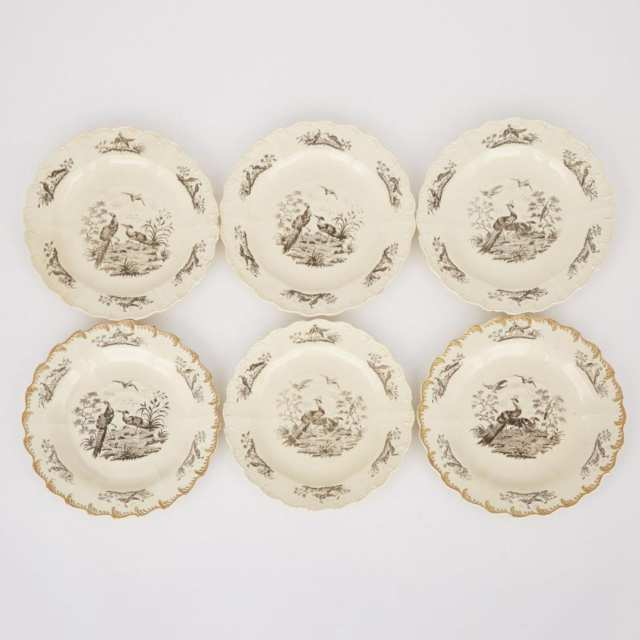 Six English Moulded Creamware 'Liverpool Birds' Plates, late 18th century