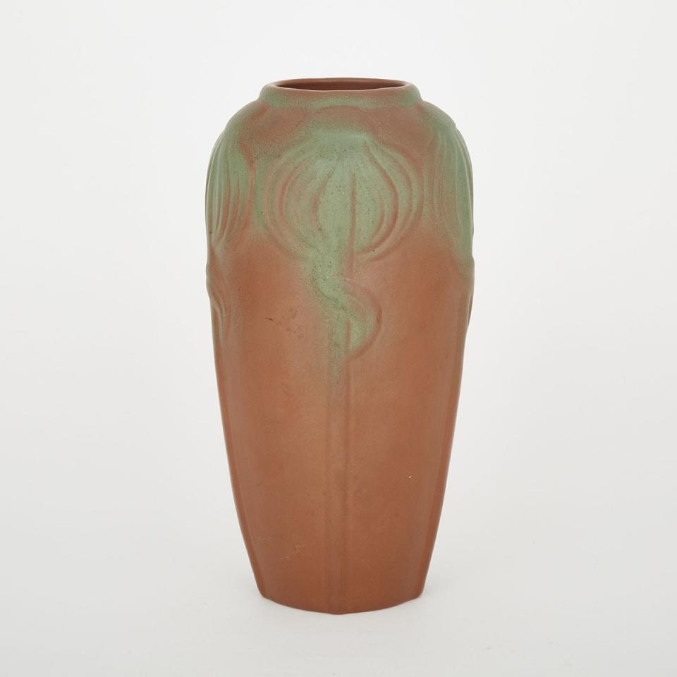 Van Briggle Green and Brown Glazed Vase, early 20th century