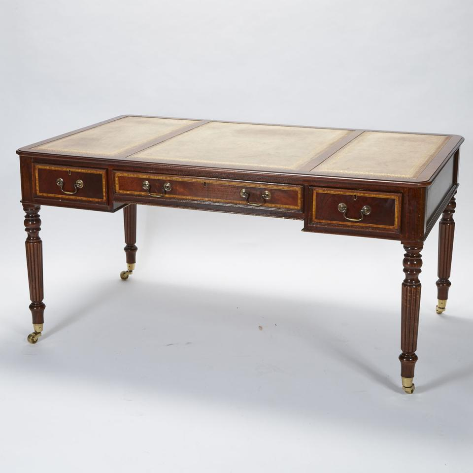 George IV Style Mahogany Partners Desk, mid 20th century