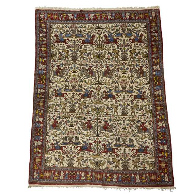 Ispahan Pictorial Carpet, Persian,  early to middle 20th century
