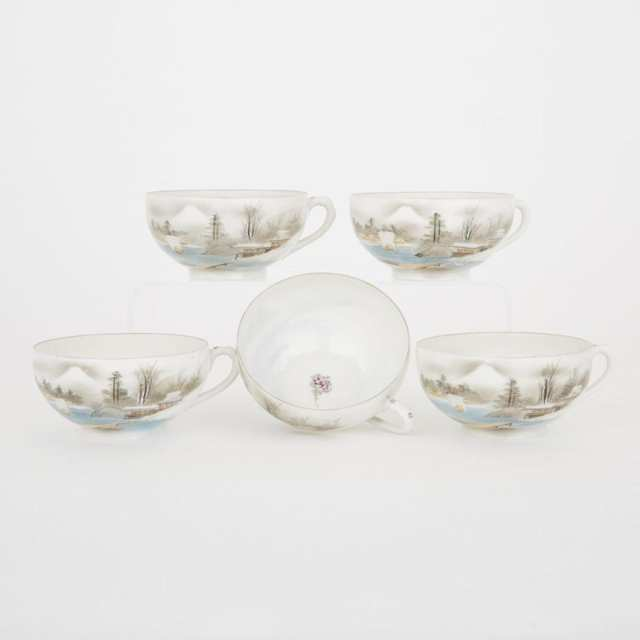 A Set of Five Kutani Eggshell Porcelain Teacups