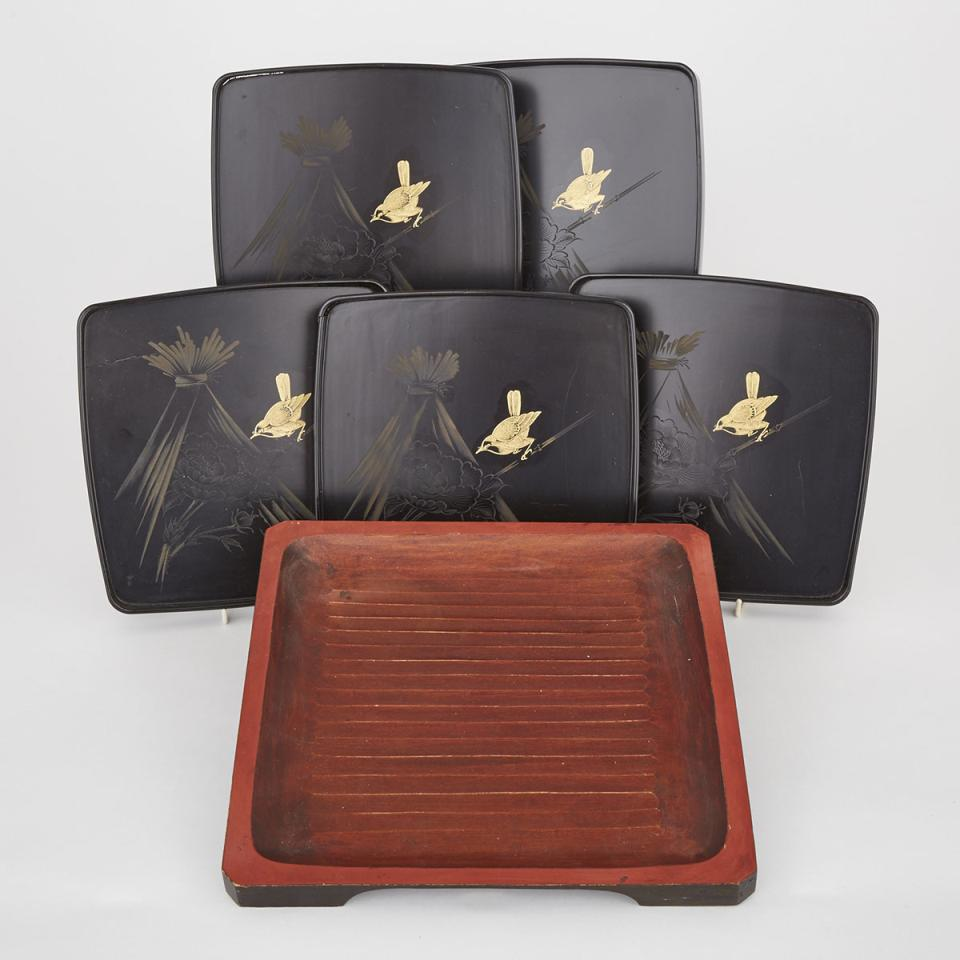 A Set of Five Black Lacquer Trays Together with a Large Painted Tray