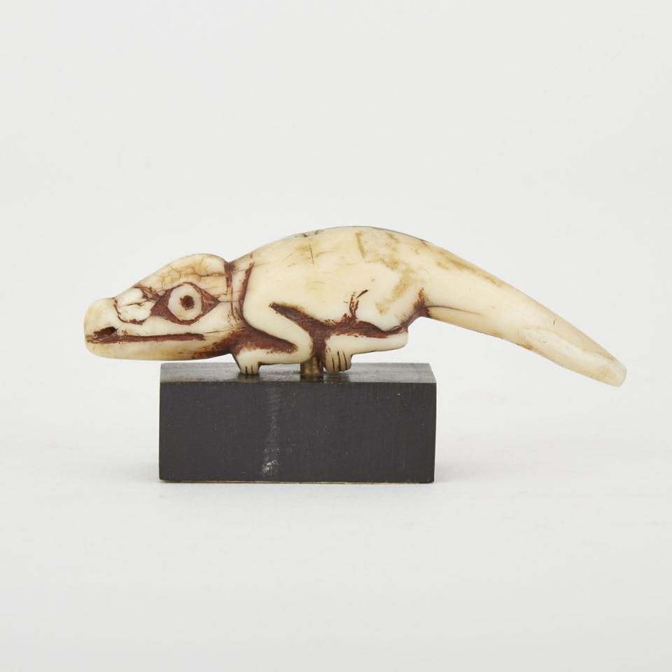 Unidentified Ivory Carving of a Chameleon, possibly Luba or Lega, Central Africa