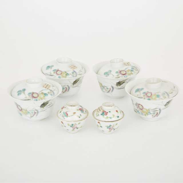 A Group of Six Lidded Tea Cups, Republic Period