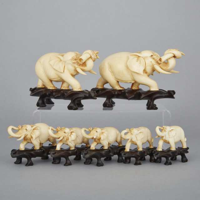 A Group of Ivory Elephants, Early 20th Century