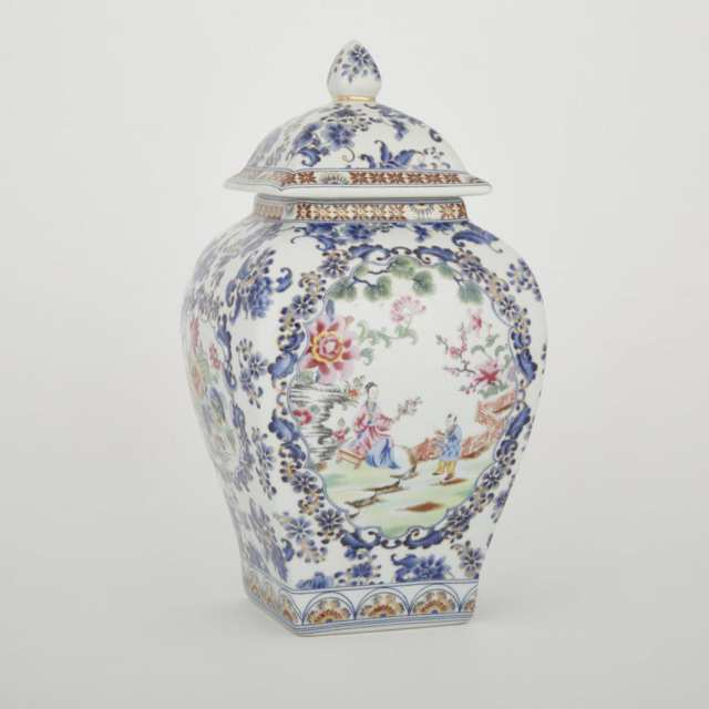 A Famille Rose Square Covered Jar