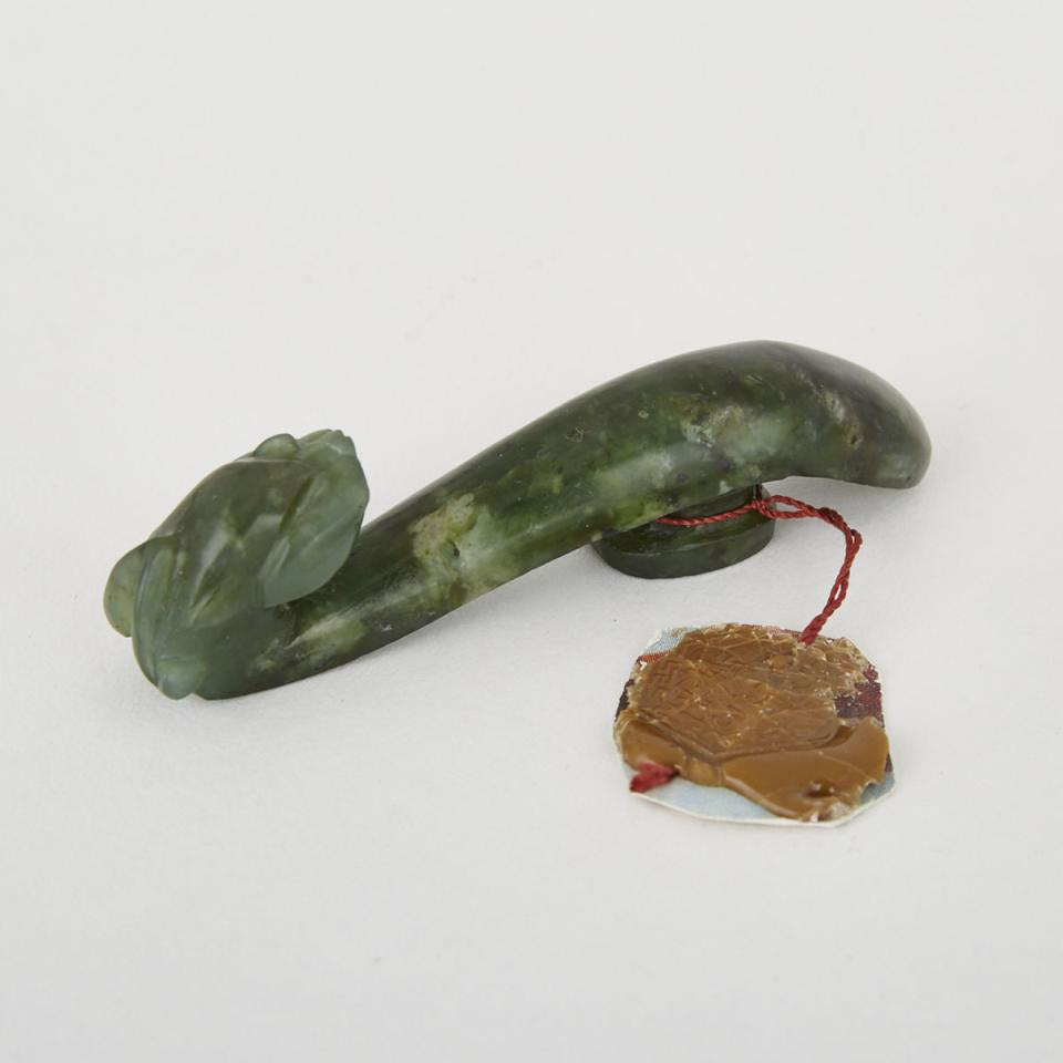 A Green Hardstone Chilong Belthook, 19th Century