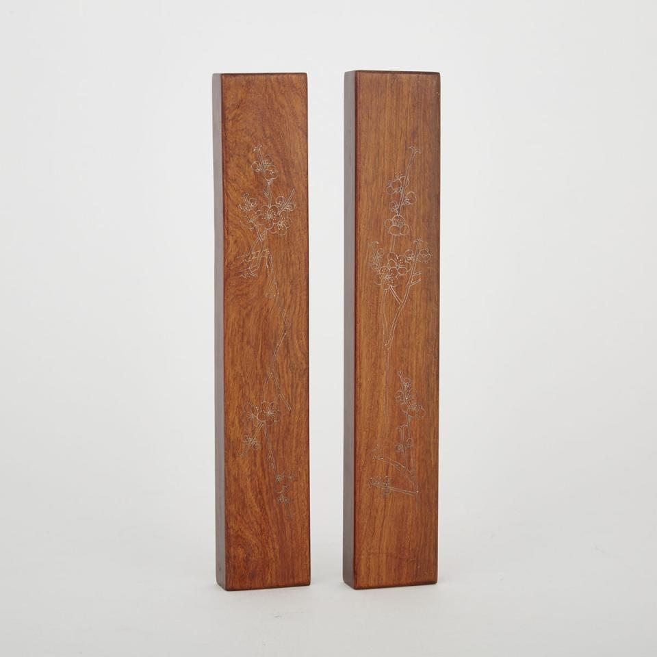 A Pair of Silver Inlaid Hardwood Scroll Weights