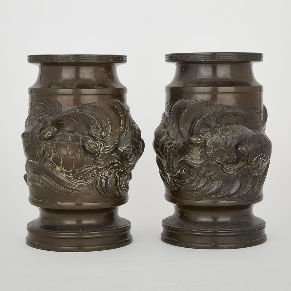 A Pair of Bronze Turtle Vases