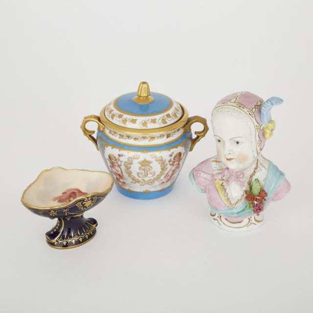 'Sèvres' Covered Sugar Basin, 'Vienna' Salt Sellar and Thuringian Porcelain Bust of a Child, c.1900