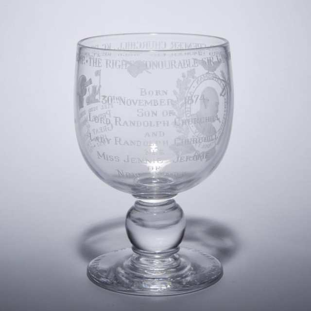 Stevens & Williams Royal Brierley 'Sir Winston Churchill' Commemorative Goblet, 34/500, 1964