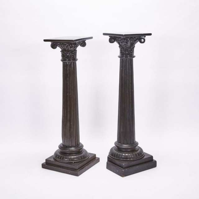 Pair of Carved and Painted Wood Column Form pedestals, 19th/20th century