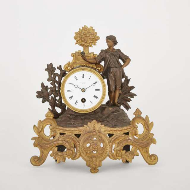 French Gilt and Patinated Metal Figural Mantle Clock, 19th century