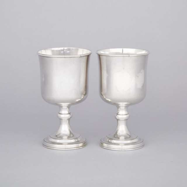Pair of Old Sheffield Plate Chalices, Waterhouse, Hatfield & Co., c.1845