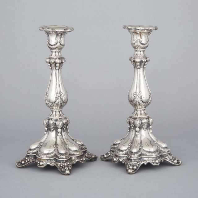 Pair of Continental Silver Candlesticks, probably Austro-Hungarian, late 19th century